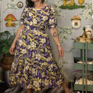 VTG HILO HATTIE purple Hawaiian print kaftan dress